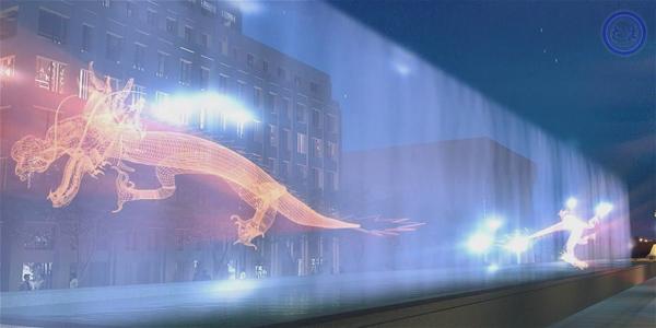 水幕电影:采用特殊的投影机播放,使用的影片也是专门为水幕电影特制的影带。由于电影的屏幕是透明的水膜,因此在电影播放时会有一种特殊的光学效果,屏幕的视觉穿透性可使画面具有一种立体的感觉,影片的内容可与水面巧妙的结合,更有一种身临其境般的奇幻感觉。水幕电影是通过高压水泵和特制水幕发生器,将水自下而上,高速喷出,雾化后形成扇形银幕,由专用放映机将特制的录影带投射在银幕上,形成水幕电影。 当观众在观摩电影时,扇形水幕与自然夜空融为一体,当人物出入画面时,好似人物腾起飞向天空或自天而降,产生一种虚无缥缈和梦幻
